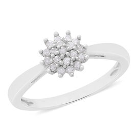 9K White Gold SGL Certified Diamond (Rnd) (I3/G-H) Floral Ring 0.200 Ct.