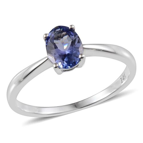 14K White Gold AA Tanzanite (Ovl) Solitaire Ring 0.750 Ct.