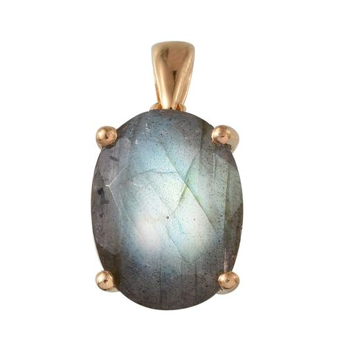 Labradorite (Ovl) Solitaire Pendant in 14K Gold Overlay Sterling Silver 7.250 Ct.