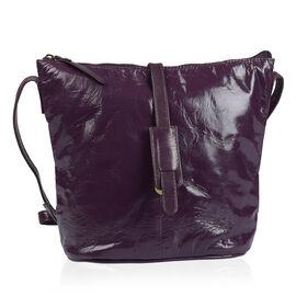 100% Genuine Leather RFID Blocker Plum Colour Crossbody Handbag (Size 29X24X4 Cm)