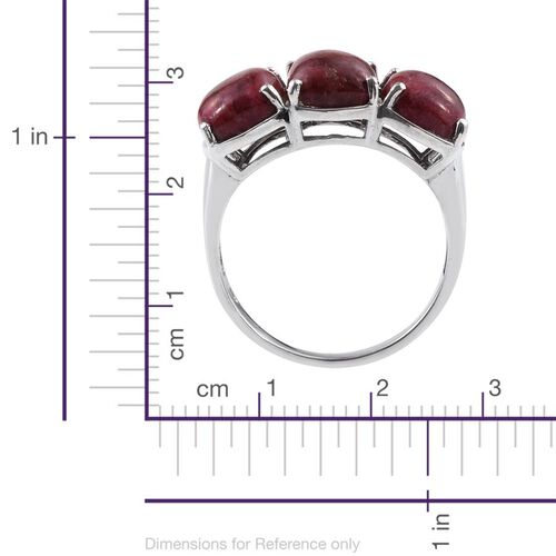 Norwegian Thulite (Cush) Trilogy Ring in Platinum Overlay Sterling Silver 11.250 Ct.
