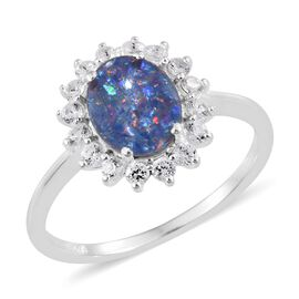 Australian Boulder Opal (Ovl 1.70 Ct), Natural Cambodian Zircon Ring in Sterling Silver 2.500 Ct.