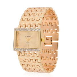 STRADA Japanese Movement Golden Sunshine Dial with White Austrian Crystal Water Resistant Bracelet Watch in Gold Tone with Stainless Steel Back