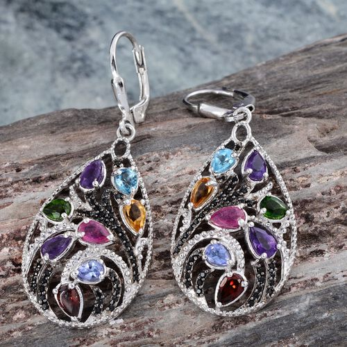 GP Lusaka Amethyst (Pear), Citrine, Mozambique Garnet, Russian Diopside, Electric Swiss Blue Topaz, Tanzanite and Multi Gem Stone Lever Back Earrings in Platinum Overlay Sterling Silver 4.550 Ct.
