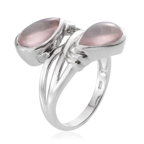Rose Quartz (Pear) Ring in Platinum Overlay Sterling Silver 7.000 Ct.