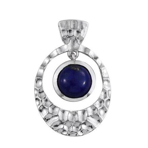 Lapis Lazuli (Rnd) Solitaire Pendant in Platinum Overlay Sterling Silver 2.250 Ct.