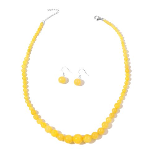 Yellow Jade Ball Necklace (Size 18 with 2 inch Extender) and Hook Earrings in Rhodium Plated Sterling Silver 232.000 Ct.