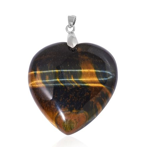 Tigers Eye Heart Pendant in Rhodium Plated Sterling Silver 129.500 Ct.