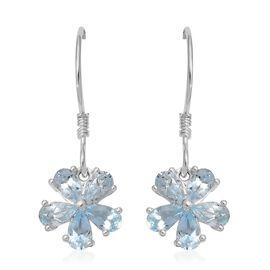 Sky Blue Topaz (Pear) Flower Hook Earrings in Sterling Silver 2.500 Ct.