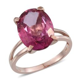 Mystic Pink Coated Topaz (Ovl) Ring in Rose Gold Overlay Sterling Silver 10.000 Ct.