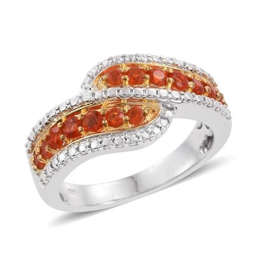 Jalisco Fire Opal (Rnd) Crossover Ring in Platinum and Yellow Gold Overlay Sterling Silver 0.500 Ct. Silver wt 5.81 Gms.