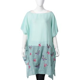 New Season-Mint Green, Red, Pink and Multi Colour Embroidered Butterfly and Bee Poncho (Size 90x90 Cm)