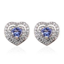9K Y Gold AA Tanzanite (Hrt), Natural Cambodian Zircon Heart Stud Earrings (with Push Back) 1.750 Ct.