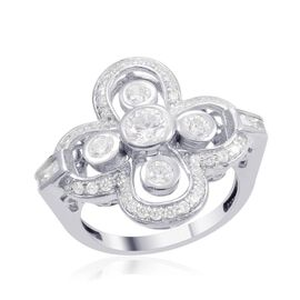 J Francis - Platinum Overlay Sterling Silver (Rnd) Ring Made with SWAROVSKI ZIRCONIA 1.834 Ct.