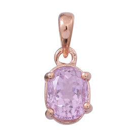 AAA Urucum Kunzite (Ovl) Solitaire Pendant in 14K Rose Gold Overlay Sterling Silver 2.000 Ct.