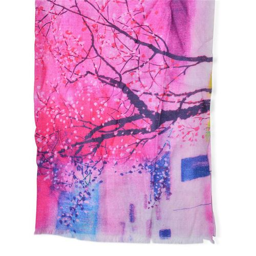100%  Merino Wool Tree Pattern Fuchsia and Multi Colour Scarf (Size 180x70 Cm)