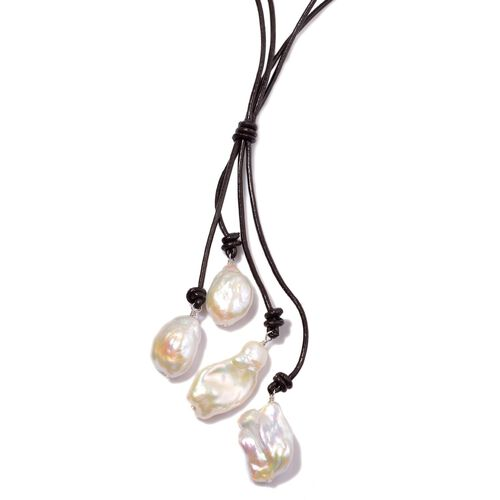White Keshi Pearl Necklace (Size 20) in Sterling Silver with Leather Cord