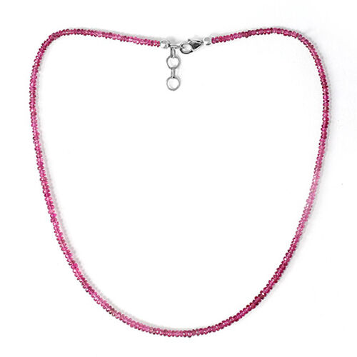 Ouro Fino Rubelite Beads Necklace (Size 16) in Sterling Silver 42.000 Ct.