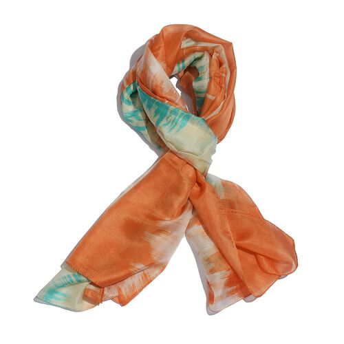 100% Mulberry Silk Orange and Multi Colour Printed Scarf (Size 175x100 Cm)