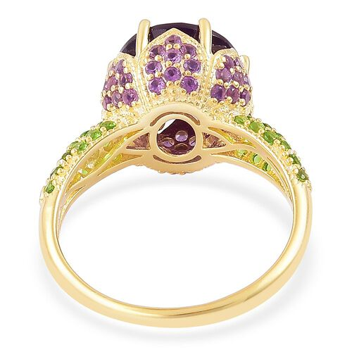 Amethyst (Rnd 4.50 Ct), Russian Diopside Ring in Yellow Gold Overlay Sterling Silver 5.810 Ct.