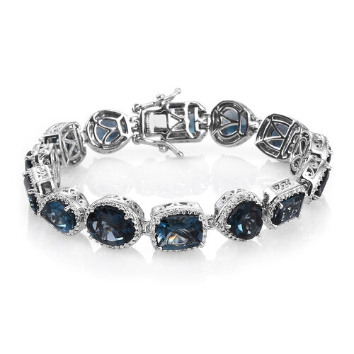 London Blue Topaz and Natural Cambodian Zircon Bracelet (Size 7.25) in Platinum Overlay Sterling Silver 29.163 Ct. Silver wt 23.50 Gms.