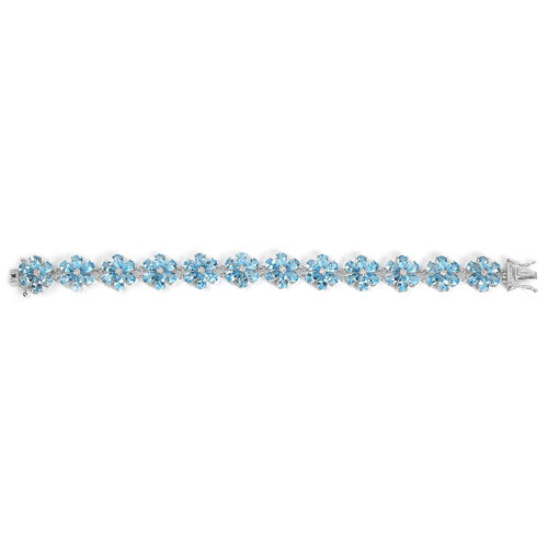 Swiss Blue Topaz (Pear) Flower Bracelet (Size 7.5) in Platinum Overlay Sterling Silver 30.600 Ct. Silver wt 15.00 Gms.