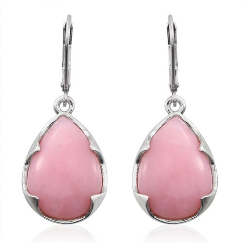 Peruvian Pink Opal (Pear) Lever Back Earrings in Platinum Overlay Sterling Silver 17.000 Ct.