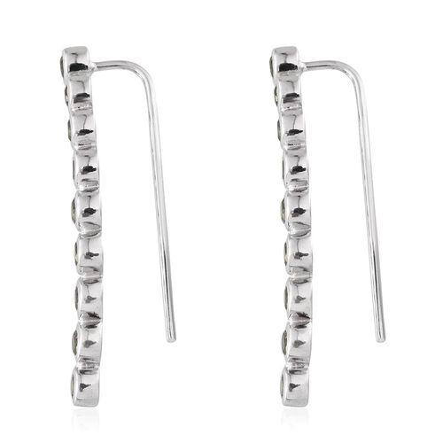 Bohemian Moldavite (Rnd) Climber Earrings in Platinum Overlay Sterling Silver 2.000 Ct.