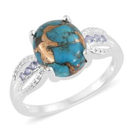 Mojave Blue Turquoise (Ovl 4.40 Ct), Iolite Ring in Sterling Silver 4.500 Ct. Silver wt 3.01 Gms.