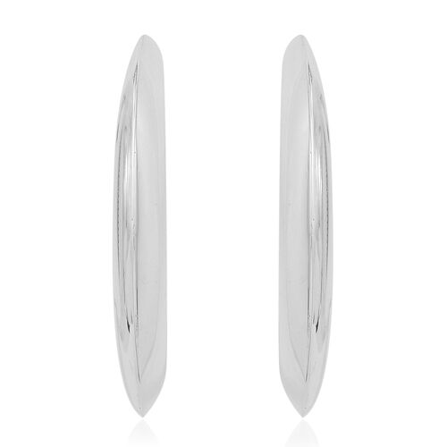 Vicenza Collection Rhodium Plated Sterling Silver Crescent Moon Shape Earrings (with Push Back), Silver wt. 4.77 Gms.