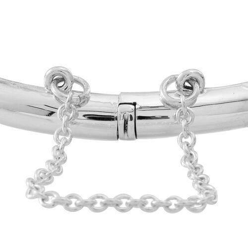 Designer Inspired Sterling Silver Diamond Cut Star Design Bangle (Size 7.75), Silver wt 8.30 Gms.
