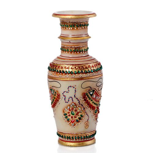 Home Decor - Marble Flower Vase With Beautiful Miniature Painting All Around (Size 9)