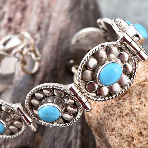 Royal Jaipur Arizona Sleeping Beauty Turquoise (Ovl), Burmese Ruby Bracelet (Size 8) in Sterling Silver 6.440 Ct.