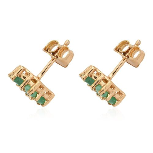 Brazilian Emerald (Rnd) Floral Stud Earrings (with Push Back) in 14K Gold Overlay Sterling Silver 1.250 Ct.