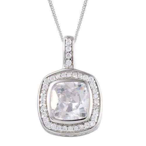 AAA Simulated White Diamond (Cush) Pendant With Chain in Platinum Overlay Sterling Silver