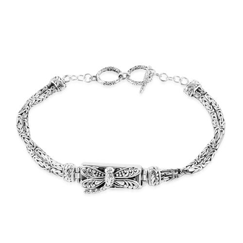 Royal Bali Collection Sterling Silver Dragonfly with Borobudur Chain Bracelet (Size 9 with Extender), Silver wt 22.50 Gms.