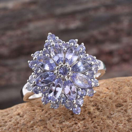 Tanzanite (Rnd) Ring in Platinum Overlay Sterling Silver 3.000 Ct.