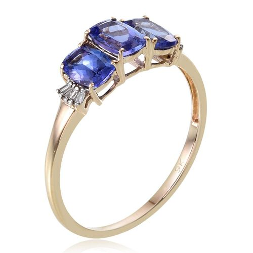 9K Y Gold Tanzanite (Cush 2.25 Ct), Diamond Ring 2.300 Ct.