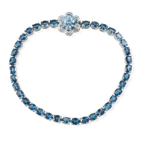 London Blue Topaz (Ovl), Electric Swiss Blue Topaz and Diamond Floral Bracelet in Platinum Overlay Sterling Silver (Size 8) 12.650 Ct.