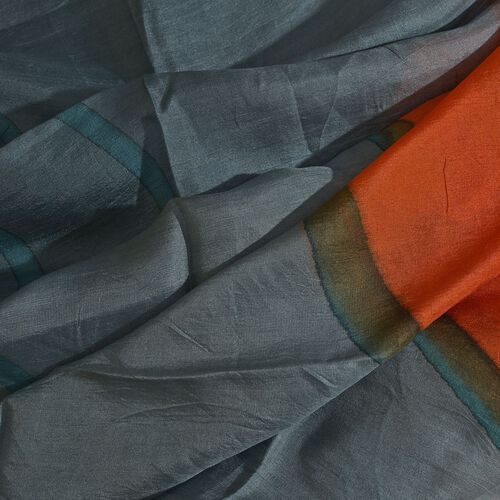 100% Mulberry Silk Black, Orange and Multi Colour Handscreen Circle Printed Scarf (Size 200X170 Cm)