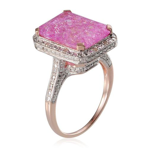 Pink Crackled Quartz (Oct 13.00 Ct), Diamond Ring in Rose Gold Overlay Sterling Silver 13.050 Ct.