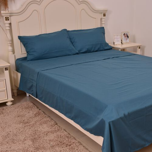 Silky Touch 4 Pcs. Bed Sheet Set in Double Size: 1 Fitted (Size 191X137 Cm), 1 Flat (Size 259X229 Cm) and 2 Pillow Cases (Size 76X51 Cm) in Colour Teal