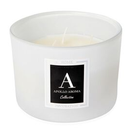 Home Decor - Cotton Flower Fragrance Aromatic Candle in Off White Colour Glass Container (Size 10X8 Cm)