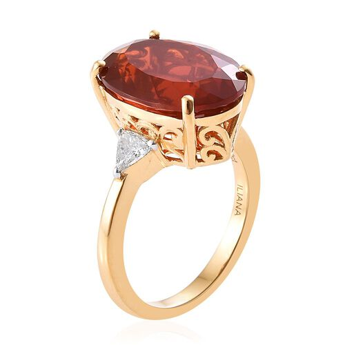 ILIANA 18K Y Gold AAAA Jalisco Fire Opal (Ovl 6.10 Ct), Diamond (SI/G-H) Ring 6.350 Ct.