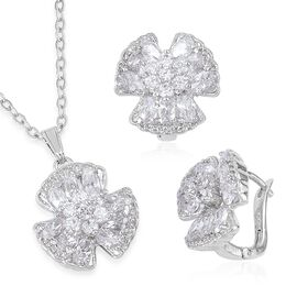 AAA Simulated White Diamond Shamrock Pendant With Chain (Size 22) and Earrings (with Clasp) Silver Plated