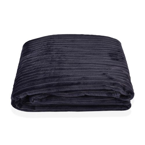 Super Bargain Price- Superfine Blue Colour Microfiber Corduroy Plush Blanket 150X200 cm