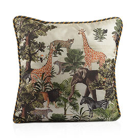The Tropical Collection - Safari Digital Print on Faux Dupion Silk Cushion Cover (Size 45x45 cm)
