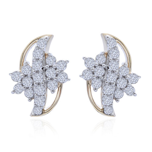 9K Y Gold SGL Certified Diamond (Rnd) (I 3/G-H) Stud Earrings (with Push Back) 0.505 Ct.