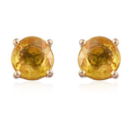 ILIANA 18K Yellow Gold 1.25 Carat AAA Chanthaburi Yellow Sapphire Solitaire Stud Earrings (with Screw Back)