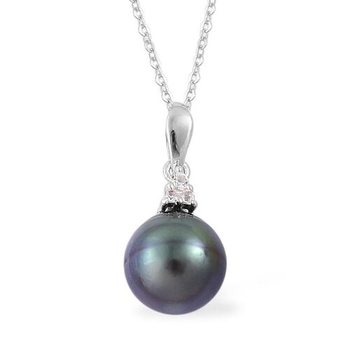 PEARL EXPRESSIONS Tahitian Pearl and White Topaz Pendant and Lever Back Earrings in Rhodium Plated Sterling Silver